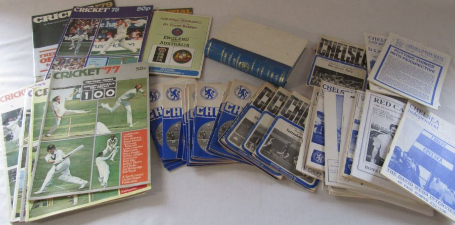 Assorted Chelsea football programmes from the 1970s and 1990s together with various Cricket