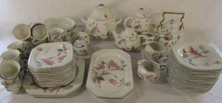 Large quantity of Mikasa 'silk flowers' part dinner / tea service (some plates not shown) (2 boxes)
