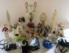 Selection of ceramics inc Aynsley and Crown Devon, RCR glass paperweight and 3 cameras inc Pentax