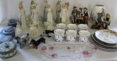 Selection of ceramics including Regal lady figurines, set of 7 Royal Botanical Garden mugs,