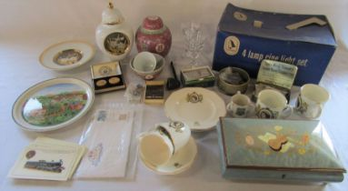 Various ceramics inc Villeroy & Boch, boxed Walter Stahli musical box, stamps, coins, razor, pipe