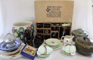 Prinknash tea service in original box, two Glenshee pottery lidded pots, various ceramics