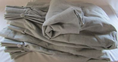 Pair of fully lined grey curtain - drop approximately 167 cm, width 240 cm, pleated top width 112 cm