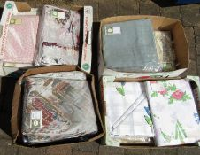 4 boxes of curtains and table cloths