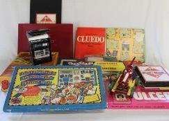 Quantity of retro games including HGP Flap-Dice, Monopoly, Cluedo, Ulcers, a Brio pull along