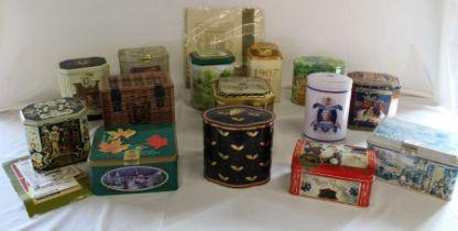 Quantity of Ringtons Tea tins & packet of tea towels