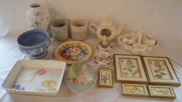 Ceramic vases including Wedgwood jasperware, cups with saucers, wall plaques etc