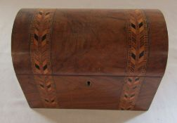 Domed top tea caddy with inlaid decoration L 22.5 cm H 17 cm (no key)
