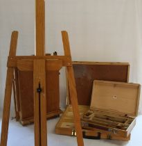 Large wooden easel, table box easel & 2 further artist's boxes