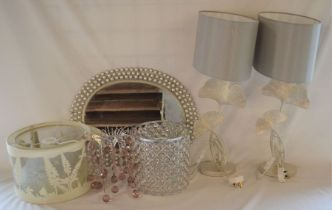 Pair of Laura Ashley lamps, 3 modern light shades & an oval pearl effect wall mirror