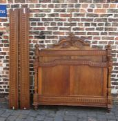 French walnut double bed (missing finials tops on foot board)