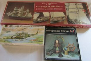 Billing Boats Cutty Sark model kit and boats fittings no 565 & Revell model kit Bell UH.1D