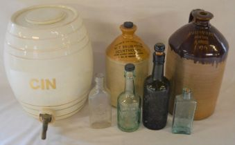Large gin barrel, stoneware flagons & local bottles including Mark Smith Chemist of Louth,