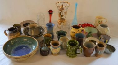 Various items of studio pottery & glassware including a paperweight