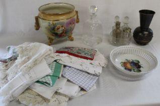 Dartington Glass decanter, jardiniere, Hungarian Lignifer ISZ beaten copper vase, ribbon bowl,