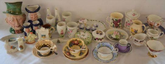 Various ceramics including a Beswick McCawber character jug, crested china etc