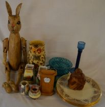 Wooden jointed hare, clock in an oak case, silver rim vase, 3 Lenox gilded plates etc