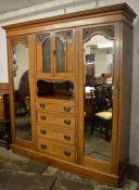 Victorian oak compactum wardrobe L 195cm H 211cm D 53cm