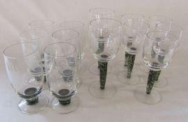 6 Denby jet glass tumblers H 17 cm, 2 goblets H 21.5 cm and 5 wine glasses H 19 cm