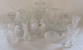 Selection of crystal glass vases and bowls inc Bleikristall, Stuart and Waterford