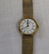 Ladies 9ct gold Longines Presence quartz wristwatch with original box and receipt