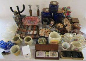 Various ceramics inc Mabel Lucie Attwell, Sadler and Hornsea, treen inc candlesticks and wooden