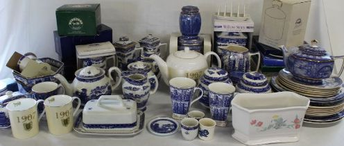 Quantity of Ringtons Tea china including 1907 teapot, Maling Ware, castle jar, Willow Story,