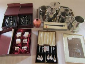 Stainless steel tea set, tankard, silver plated set of napkin rings and teaspoons, wine gifts,