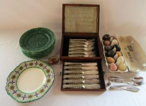 Cased fish knives and forks, onyx eggs, silver plate and plates inc Wedgwood