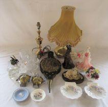 Various ceramics inc Coalport figurine, Wedgwood and Staffordshire, glassware inc Swarovski animals,