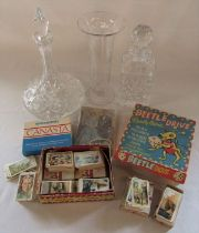 2 glass decanters, glass vase, vintage games, Coronation 1953 jigsaw and assorted cigarette and