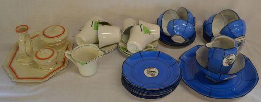 Part Art Deco tea service, early 20th century part tea service (some damage) & a part Art Deco