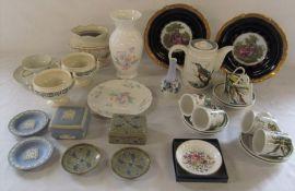 Various ceramics inc Aynsley, Wedgwood, Portmeirion, Royal Copenhagen, Limoges, miniature framed