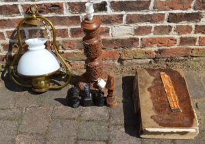 Hanging paraffin lamp, Georgian bible (with cellophane covering), carved wooden lamp, 3 carved
