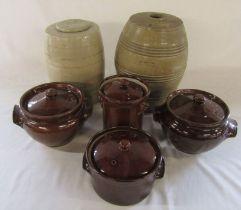 Selection of stoneware jars and crocks