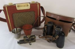 Pair of Carl Zeiss Zena Detrintem 8 x 30 binoculars, pocket Clinometer and a Celestion radio