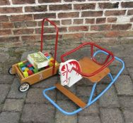 Vintage rocking horse chair & an Agem push along toy