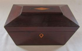 Wooden tea caddy with inlaid decoration L 23 cm H 14.5 cm