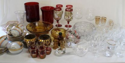 Selection of glassware, ruby glass vases, Japanese tea set (3 boxes)