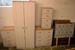 Modern (near new) bedroom suite comprising wardrobe, 2 chest of drawers, bedside cabinet & a