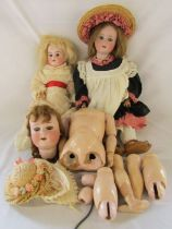 3 German bisque head dolls - one marked Made in Germany 390 46 cm, Armand Marseille 390 A11M (in