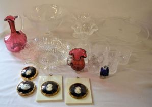 Various items of glassware including cranberry & 4 cameo style wall plaques