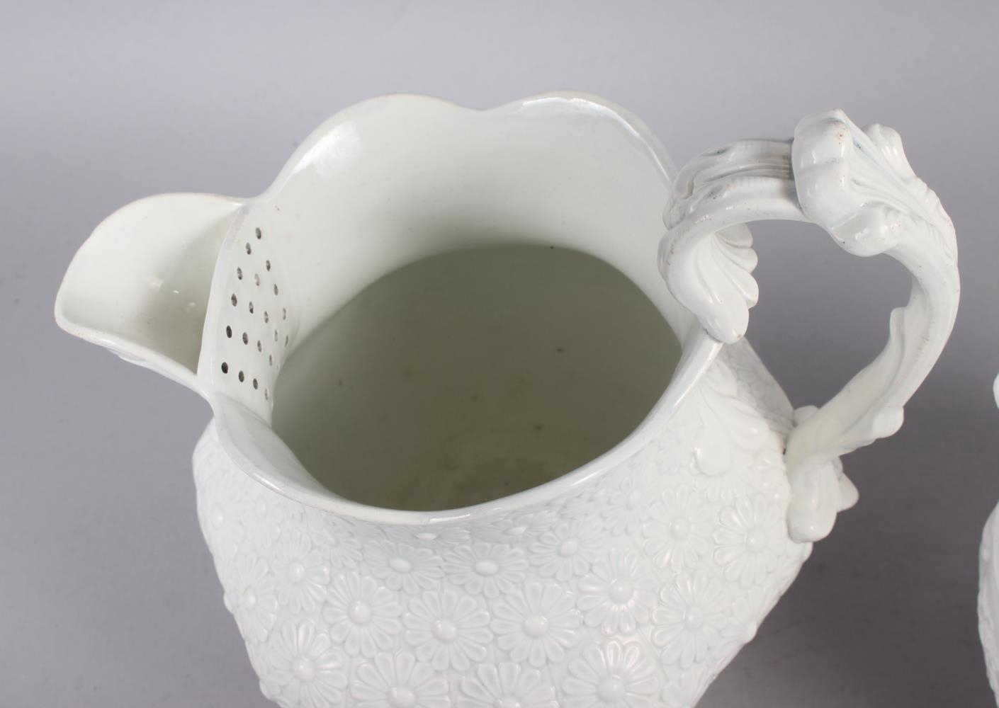 An early 19th century Don Pottery tisaniere and cover with cream stoneware body moulded daisy heads, - Image 3 of 5