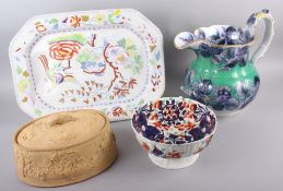 "A Davenport floral decorated toilet jug, 14"" high (restored), an Imari decorated bowl, 9 3/4""dia, an"