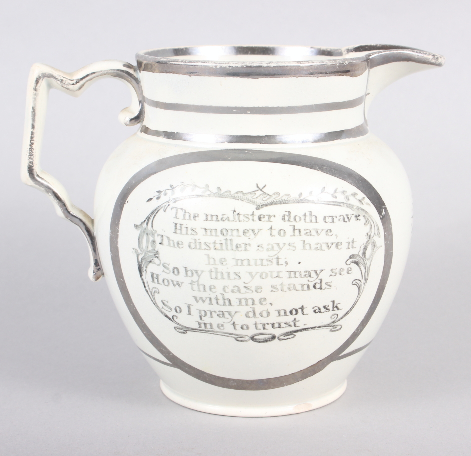"A 19th silver and white glazed pearlware jug with verse decoration, 4 1/2"" high (chip to base)"