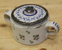 An 18th century Delft ware two handled posset pot and associated cover with white metal mounts, 8