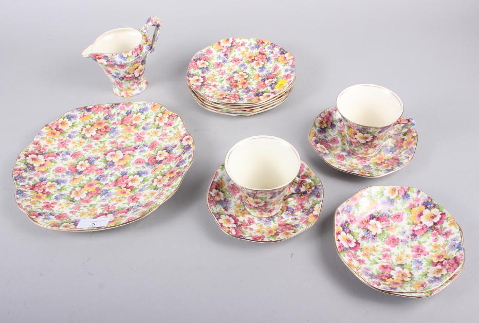"A James Kent ""Du Barry"" pattern floral decorated part teaset"