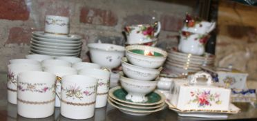 """A Royal Albert """"Country Roses"""" part teaset, a Limoges part coffee set, Vienna cabinet cups and"""