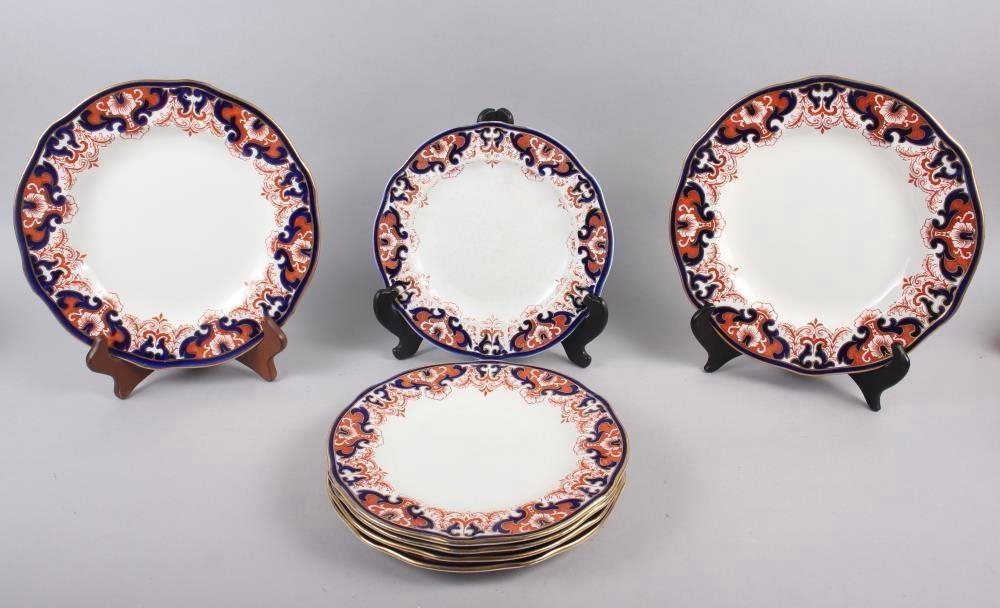 """A pair of Royal Crown Derby Imari pattern dinner plates, 10"""" dia, and five matching dessert plates"""