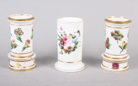 """A pair of Spode relief and floral decorated spill vases, 4 1/4"""" high, and a similar spill vase, 4"""""""